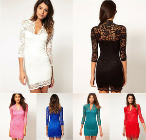 Fashion Womens Sexy V-neck Lace Slim Lady Cocktail Clubbing Party ...