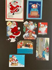 Lot-of-8-vintage-Christmas-cards-Santa-2-flocked-amp-2-w-feathers-1920-1950