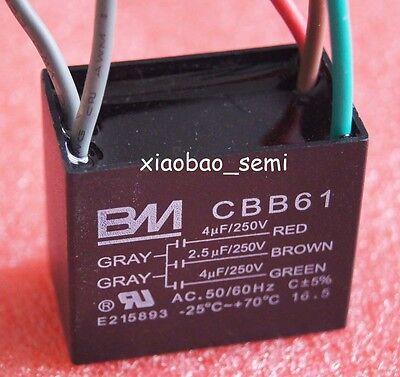 UL CBB61 CEILING FAN CAPACITOR 4uf+4.5uf+5uf 4 WIRE 250VAC BM