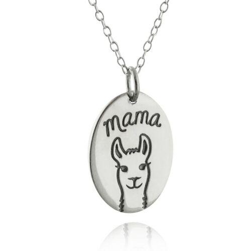 Mama Llama Charme Collier 925 Sterling Argent Ovale Maman Fête Des Mères Cadeau