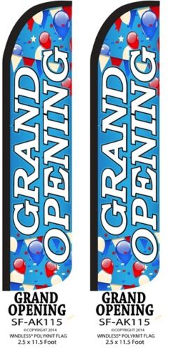 2 WINDLESS FEATHER FLAG KITS W//POLE /& GROUND SPIKE GRAND OPENING W//BALLOONS TWO
