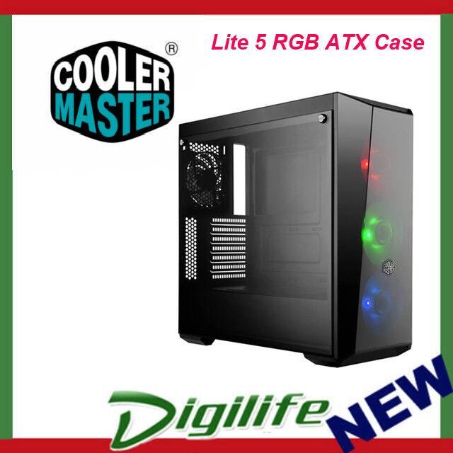 Cooler Master MasterBox Lite 5 RGB ATX Case - Tempered Glass Window