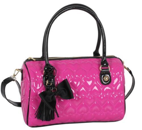 Sac et Domo breveté bandoulière coeur Nouveau avec à et verni Pink à Hot bandoulière paz4qw