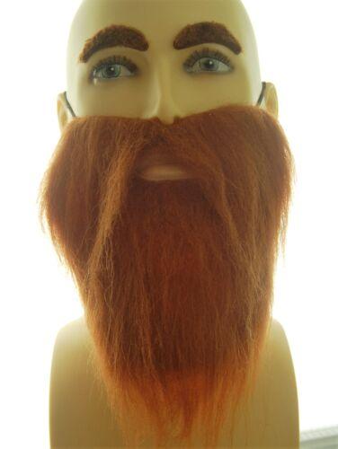 WIZARD REALISTIC HAIR PIRATE BROWN FANCY DRESS BEARD /& EYEBROWS HIPPY VIKING