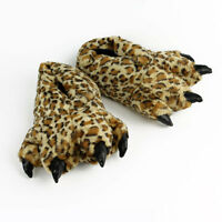 Leopard Paw Slippers - Furry Cat Animal Feet Slippers
