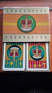 Piatnik Vienna CORONATION PLAYING CARDS 2 Decks Slide Box Royal Crown 52+2Jkrs