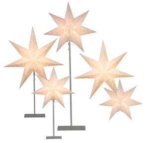 Tischlampe-Stern-55-78-83cm-Lampenschirm-Papierstern-creme-Edelstahl-Ersatzstern