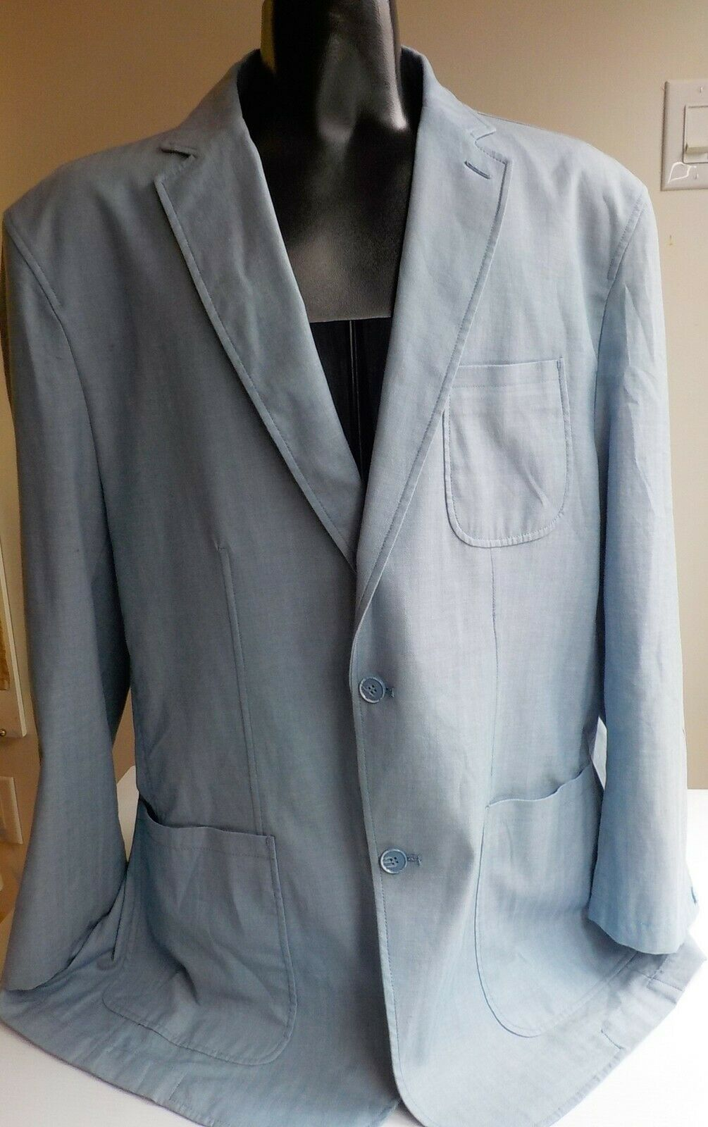 ENZO TOVARE Lightweight 100% baumwolle Lt. Blau Two-Button Dual Vent Sport Coat 50L
