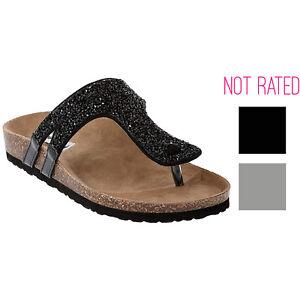 3e8c73b696eb Image is loading Not-Rated-Womens-Bushey-Sparkling-Slide-Sandal