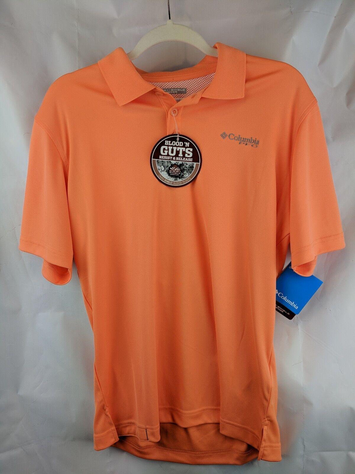 Columbia Mens S PFG Blood Guts Short Sleeve orange Shirt OmniShield Fishing New