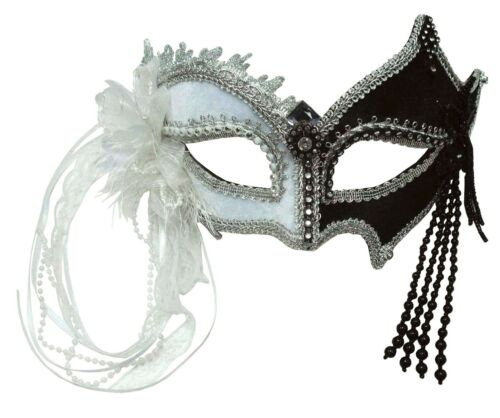 Black and White Carnival Mask With Tassels Fancy Dress Harlequin Joker Accessory