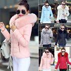 Women Winter Fur Collar Hooded Down Coat Warm Short Parka Jacket Outwear M-XXXL