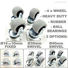 4 X Heavy Duty 30 40 Mm Swivel Or Fixed Castor Wheels Trolley Furniture Rubber