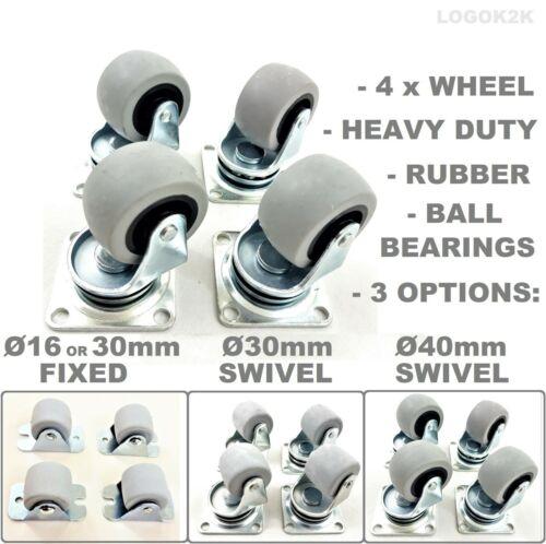 4 x Heavy Duty Ø 30 40 mm Swivel or Fixed Castor Wheels Trolley Furniture Rubber
