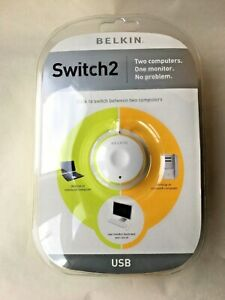 Belkin-Switch2-2-Computers-1-Monitor-Plug-in-Turn-on-No-Software-Required-Sealed