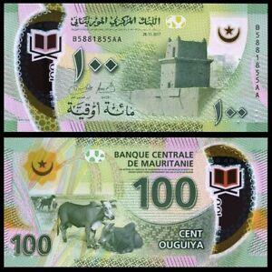 Mauritania-100-Ouguiya-2017-Polymer-P-New-Design-UNC