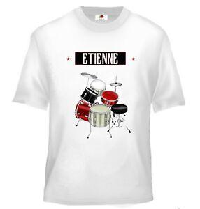 Dynamique Tee Shirt Enfant Musique Batterie Personnalisé Avec Prénom Prix De Vente