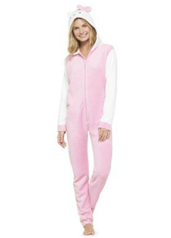 Hello Kitty Hooded S-M-XL Fleece Pajamas Union Suit One Piece Adult Jrs Women