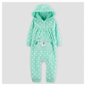 9f14a457d7dc Carter s Baby Girls  Mint Fleece Hooded Hearts Jumpsuit Size 9 ...