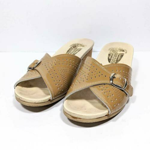 Worishofer Womens Slide Sandals Brown Leather Comf
