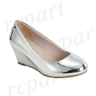 4d2f1f3f85957 New girl's kids formal dress wedge wedding round close toe shoes Silver |  eBay