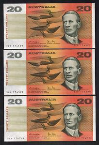 Australia-R-407b-1979-20-Dollars-Knight-Stone-OCRB-aU-UNC-CONSEC-Trio