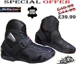 Real-de-cuero-de-alta-tecnologia-para-Hombre-Moto-Carreras-De-Motos-Botas-Zapatos-Deportivos-Corto