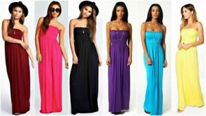 Womens-Strapless-Maxi-Dress-Ladies-Sheering-Boob-tube-Bandeau-Long-Size-8-22
