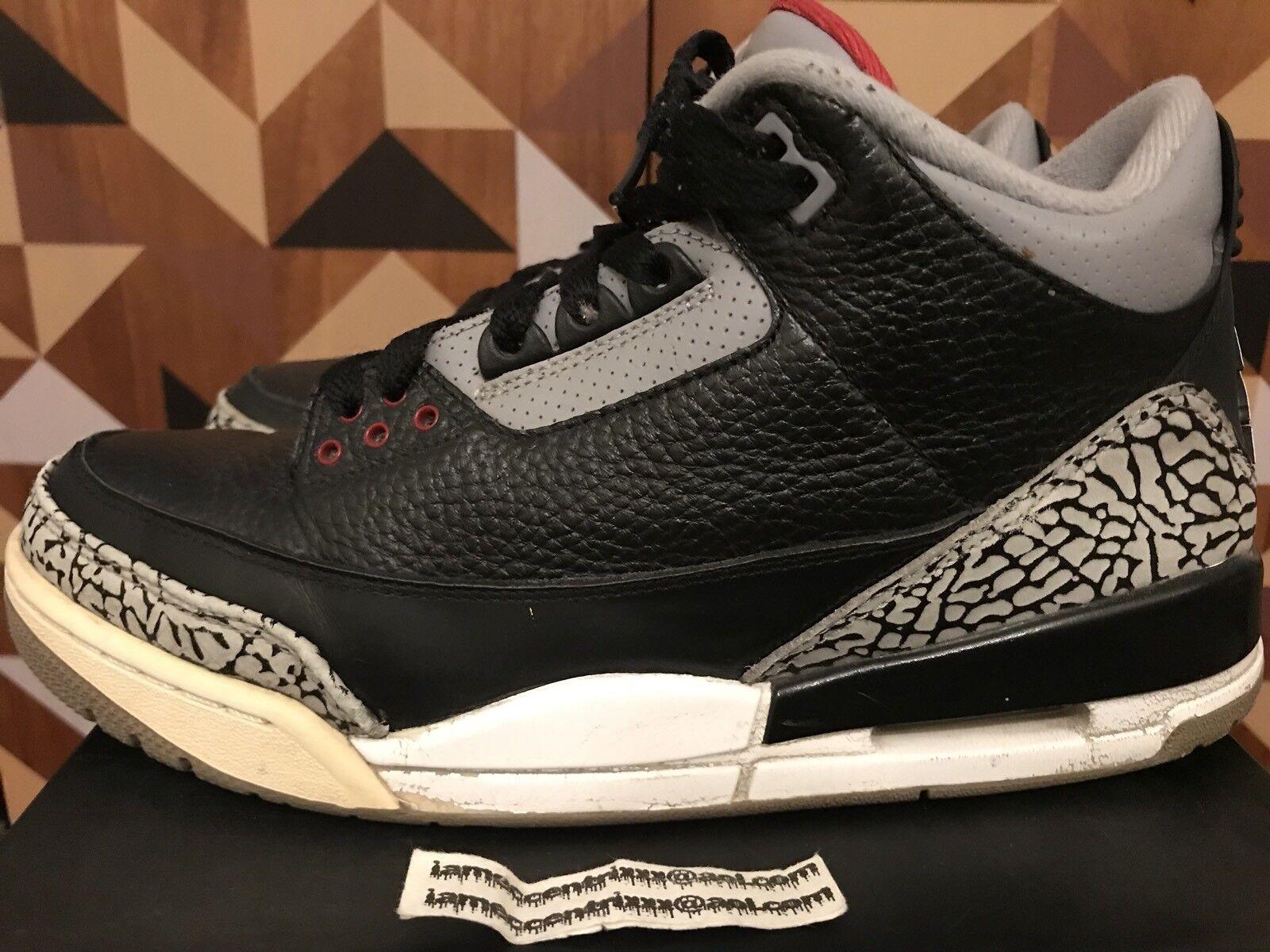 Nike air jordan 3 retrò sz 7,5 nero rosso rosso rosso di cemento grigio del 2011 e1622a