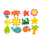12pcs 1Set Kids Wood Cartoon Pattern Fridge Magnet Educational Toy Gift