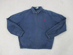 VINTAGE-Ralph-Lauren-Polo-Jacket-Adult-Medium-Blue-Red-Pony-Full-Zip-Men-90s-A3