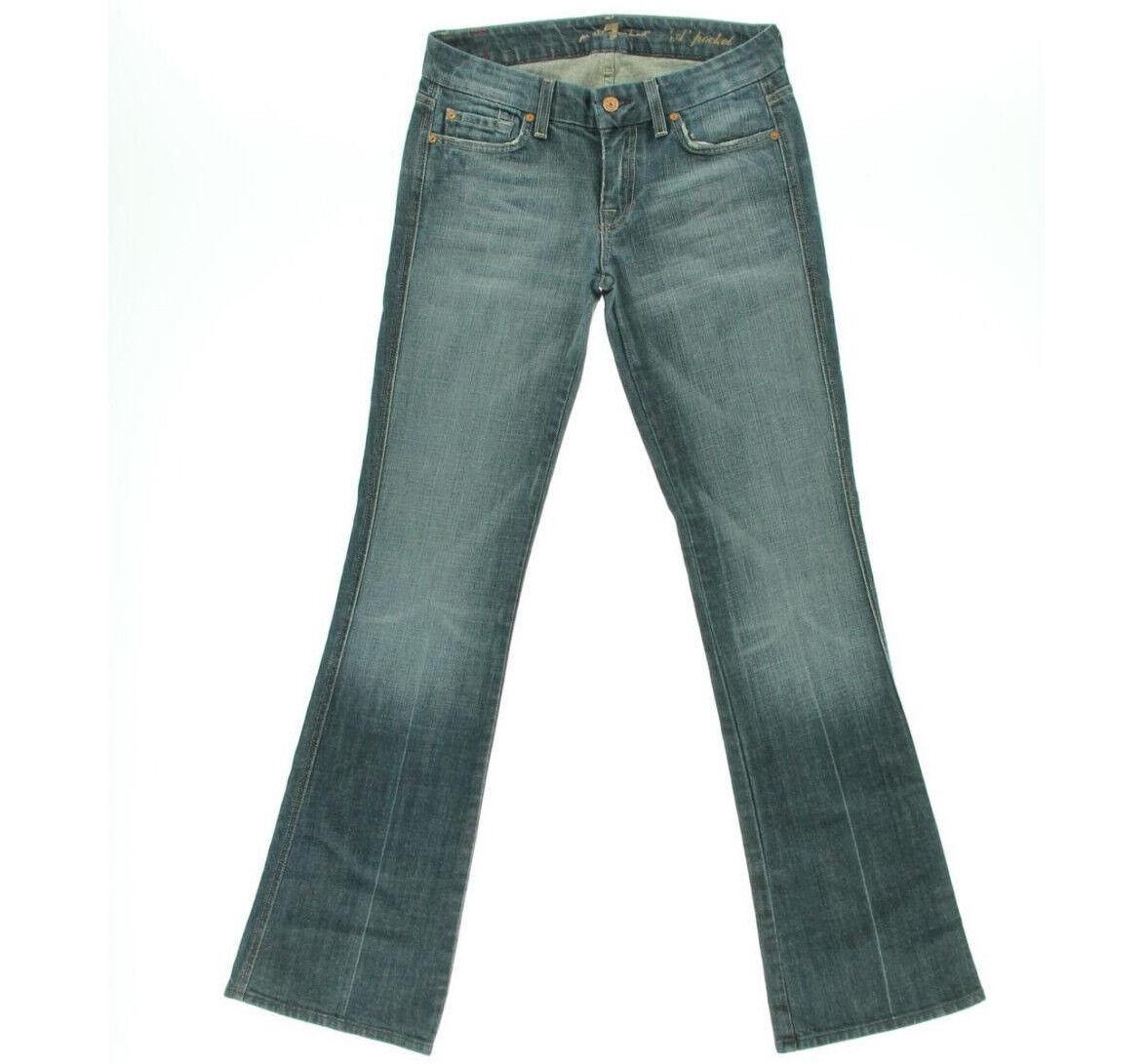 7 For All Mankind Jeans Denim Mid-Rise Flare Whisker Wash W24 L32 AU6 EUC damen