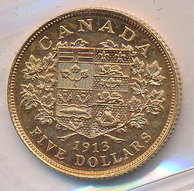 Canada GOLD 5 Dollars 1913 - ICCS AU-55
