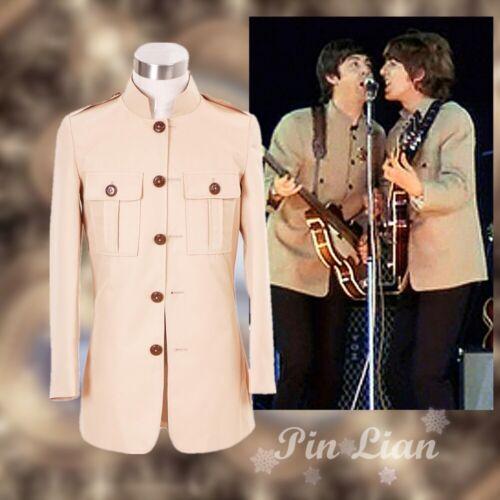 The Beatles John Lennon Shea Stadium Beige Jacket Coat Uniform Cosplay Costume