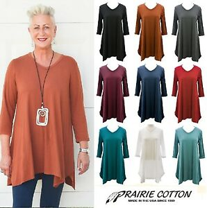 PRAIRIE-COTTON-USA-6235-3-4-V-NECK-TUNIC-Shark-Bite-Hem-S-M-L-XL-FALL-2017