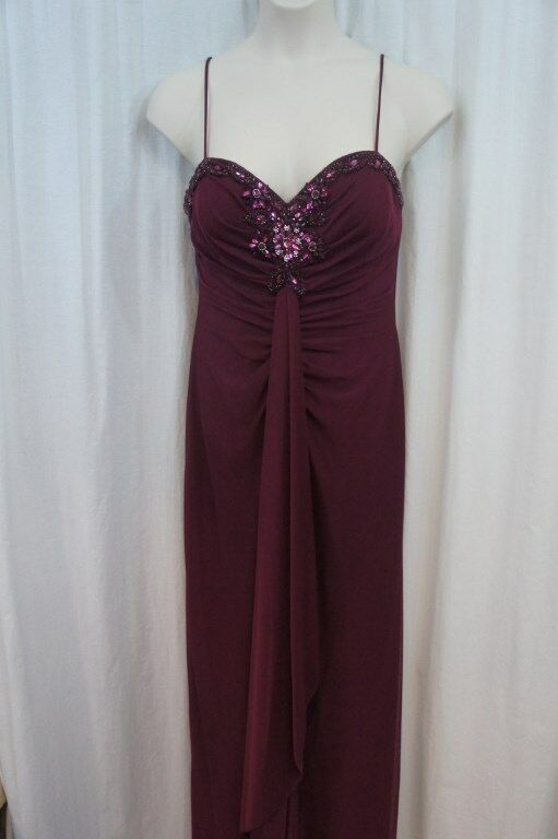 Onyx Nite Dress Sz 12 Garnet Red Embellished Bust Full Length Evening Formal