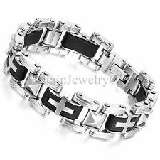 """16MM Men's Stainless Steel Black Silicone Cross Link Biker Cuff Bracelet, 8.5"""""""