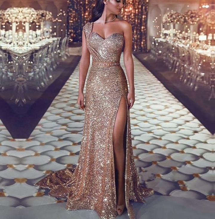 SALE  gold glitter one shoulder long evening party prom dress sizes  8 10 12