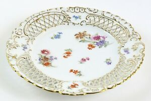 Reticulated-Gold-Trim-Dresden-Plate-Ornate-Floral-w-Germany-Shield-and-Crown