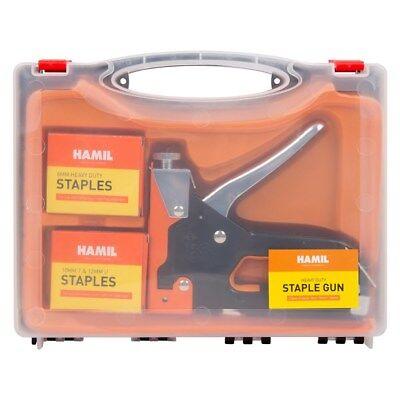 New Heavy Duty Staple Gun Stapler Tacker With Staples Upholstery /& Carry Case