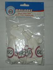 Geburtstagsdekoration! 8 Stück Luftballons zum 60. Geburtstag in weiss/rot! NEU!