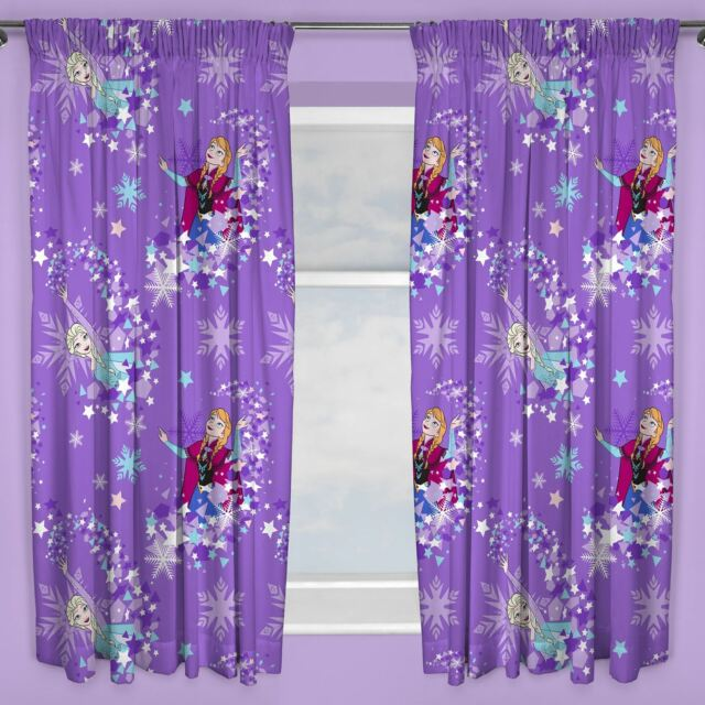 DISNEY FROZEN ANNA ELSA PURPLE CURTAINS GIRLS KIDS BEDROOM - 66 x 72 Inch