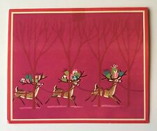 NORCROSS Pink Vintage Christmas Card Cute Deer Fawn Colorful Present Tree MCM A+