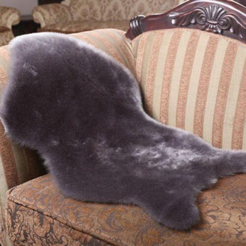 Faux Wool Sheepskin Rug Chair Cover Fur Plush Warm Carpet Seat Pad Plain Skin