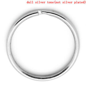 Key Chains Round Silver Tone 25mm Dia,50PCs SP0307