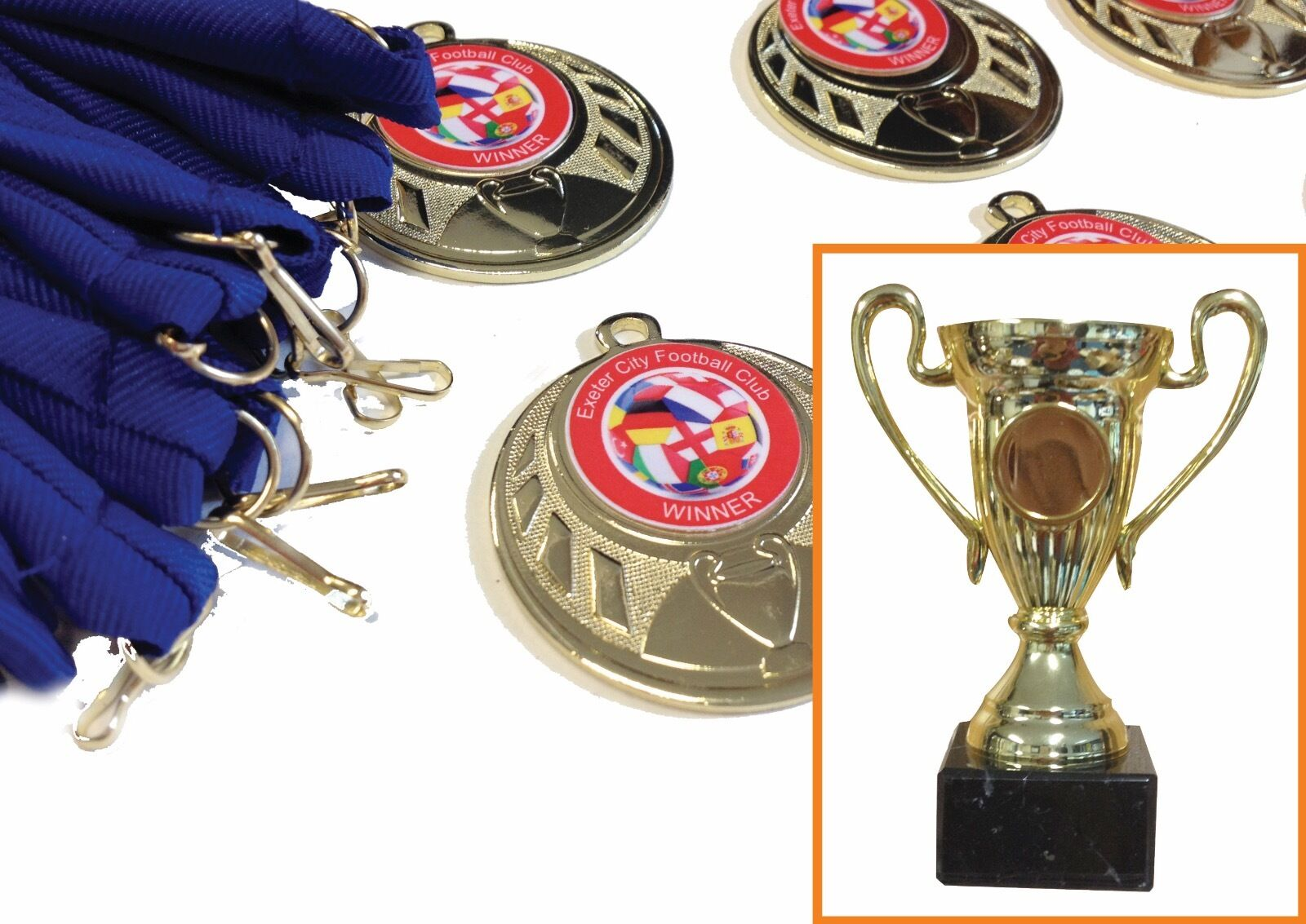 Cup + 20 medals. Soccer School   Birthday Party. Choice of ribbons and centres