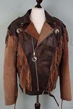 Vtg Leather Biker Cowboy Belted Western Rockabilly Suede Tassel Jacket Coat XXL