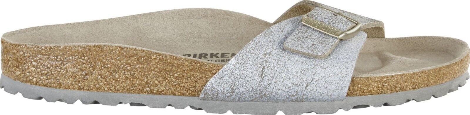 Birkenstock Madrid Washed Metallic Blau schmal Silver Veloursleder 38,42 Fußbett schmal Blau aabf35