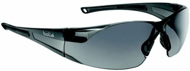 Bolle 40208 Rush 2 Pair Safety Glasses with Black//Gray Temples and Smoke Lens
