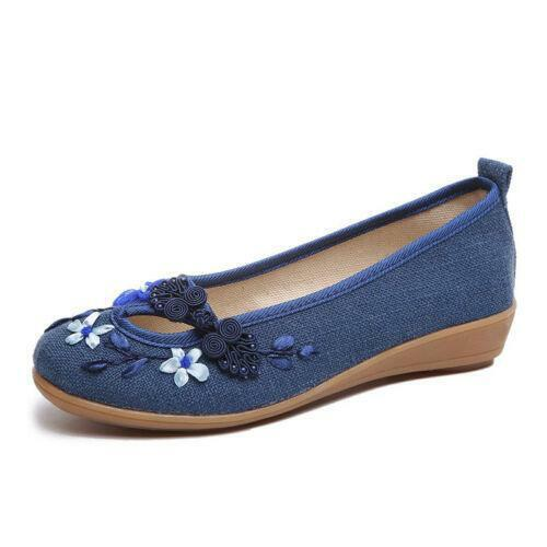 Womens Chinese Folk Canvas Casual Shoes Embroidery Natural Ballet Flats Loafers